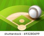 illustration baseball on green... | Shutterstock .eps vector #693280699
