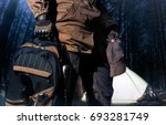 backpack and gear woods... | Shutterstock . vector #693281749