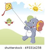 playing kite at summer  vector...   Shutterstock .eps vector #693316258