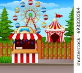 amusement park with ferris... | Shutterstock . vector #693320284