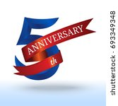 fifth years anniversary  5th... | Shutterstock .eps vector #693349348