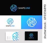 geometric n letter linear logo... | Shutterstock .eps vector #693356890