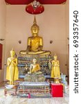 Small photo of Samut Sakhon, Thailand - April 21, 2014 ; Buddha images inside Buddhist temple located in Wat Tuek Maha Chayaram (Tuek Maha Chayaram temple) Samut Sakhon province, Thailand