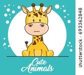 cute animals baby shower card | Shutterstock .eps vector #693362848