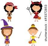 happy girls in halloween... | Shutterstock .eps vector #693372853