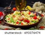 salad   fusilli pasta with... | Shutterstock . vector #693376474