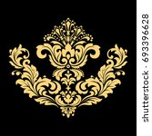 golden pattern on a black... | Shutterstock . vector #693396628