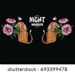 tiger and flowers illustration | Shutterstock .eps vector #693399478