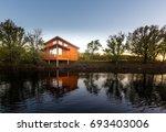 contemporary wooden single... | Shutterstock . vector #693403006