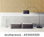 modern living room  with yellow ... | Shutterstock . vector #693404500
