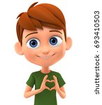 boy gives a heart on a white...   Shutterstock . vector #693410503