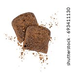 sliced rye bread with crumbs...   Shutterstock . vector #693411130