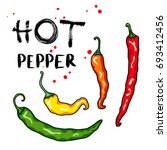 chili peppers vegetable set.... | Shutterstock .eps vector #693412456