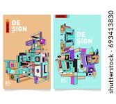 flat color covers set. abstract ... | Shutterstock .eps vector #693413830