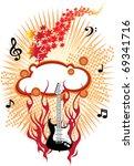 fire guitar | Shutterstock .eps vector #69341716