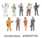 people of various professions... | Shutterstock .eps vector #693442756