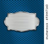 metal scratched plate on blue... | Shutterstock .eps vector #693447160