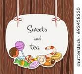 sweet banner. candy labels on... | Shutterstock .eps vector #693458320