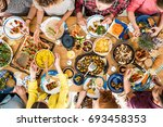 woman shares tasty meal with... | Shutterstock . vector #693458353