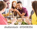 smiling man in violet shirt... | Shutterstock . vector #693458356