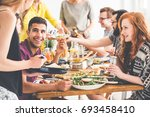 smiling people enjoy fresh... | Shutterstock . vector #693458410