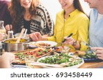 vegetarians eat healthy and... | Shutterstock . vector #693458449