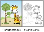 little tiger ride on giraffe ... | Shutterstock .eps vector #693469348