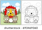 lion family vector cartoon ... | Shutterstock .eps vector #693469360
