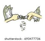 squeezing dollars money cash... | Shutterstock .eps vector #693477736