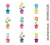 cute flower pot on white...   Shutterstock .eps vector #693481228