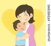 happy mother and her son... | Shutterstock .eps vector #693481840