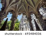 ancient castle and park in... | Shutterstock . vector #693484036
