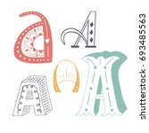 unique collection of hand drawn ... | Shutterstock .eps vector #693485563