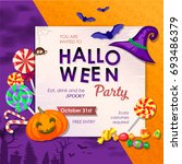 invitation to halloween party... | Shutterstock .eps vector #693486379