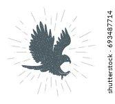 hand drawn vintage eagle.... | Shutterstock .eps vector #693487714