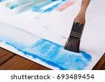 artist creating watercolor...   Shutterstock . vector #693489454