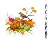 autumn vector thanksgiving... | Shutterstock .eps vector #693492790