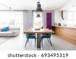 open plan apartment of family...   Shutterstock . vector #693495319