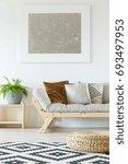 cozy interior in white natural... | Shutterstock . vector #693497953