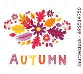 autumn greeting card with... | Shutterstock .eps vector #693514750