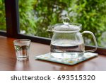 hot water in glass jug and cup...   Shutterstock . vector #693515320