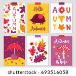 set of six autumn cards with... | Shutterstock .eps vector #693516058