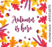 autumn greeting card with acorn ... | Shutterstock .eps vector #693516070