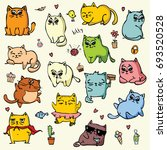 vector set with colour doodle... | Shutterstock .eps vector #693520528