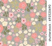 flowery shabby chic pattern in... | Shutterstock .eps vector #693520690