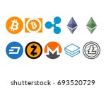 cryptocurrency logo set  ... | Shutterstock .eps vector #693520729