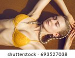 a beautiful sexy young blonde... | Shutterstock . vector #693527038