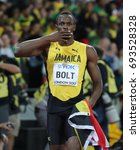 Small photo of LONDON, ENGLAND - AUGUST 05: Usain Bolt of Jamaica during day two of the 17th IAAF World Athletics Championships London 2017 at The London Stadium on August 5, 2017 in London, United Kingdom.