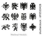 set heraldic medieval vector... | Shutterstock .eps vector #693533428