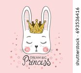 cute bunny girl with crown.... | Shutterstock .eps vector #693536416